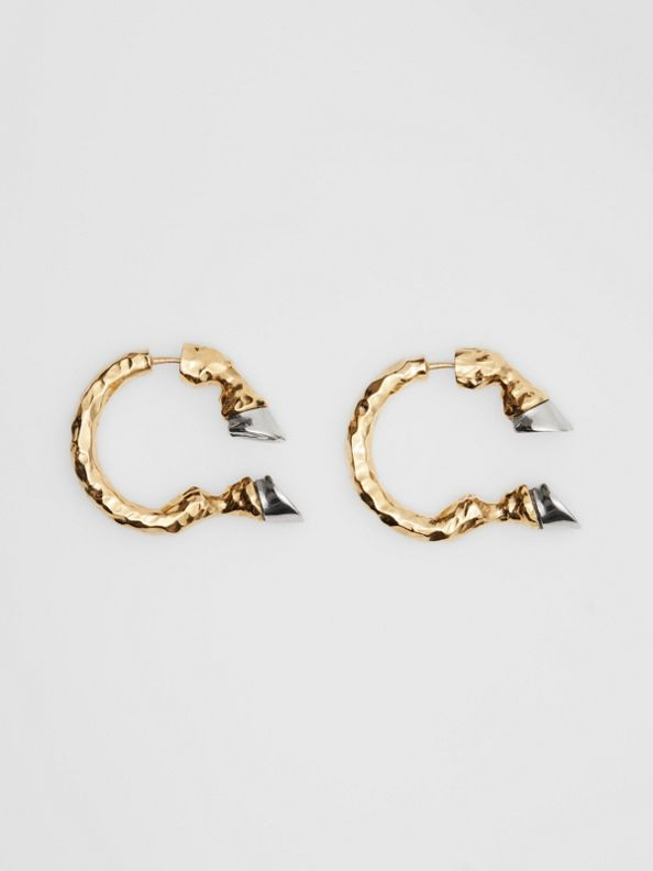 Gold and Palladium-plated Hoof Open-hoop Earrings in Light Gold/palladio