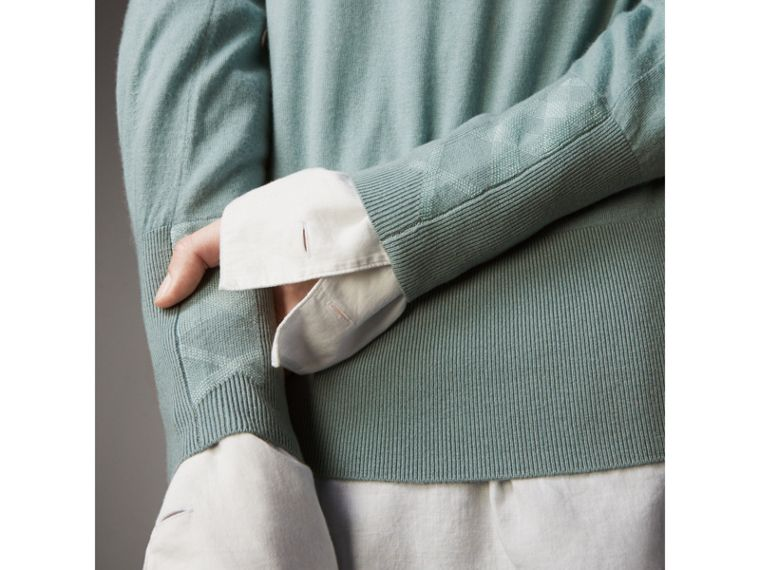 Open-knit Detail Cashmere Crew Neck Sweater in Eucalyptus Green - Women | Burberry - cell image 1