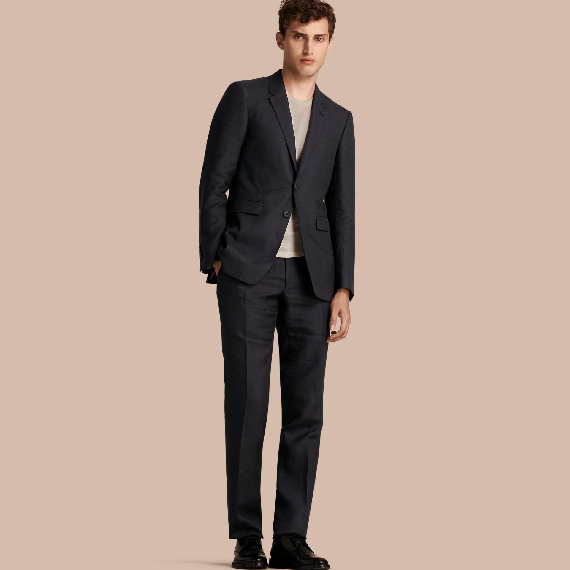 Dark navy Modern Fit Linen Wool Silk Jacket - gallery image 1