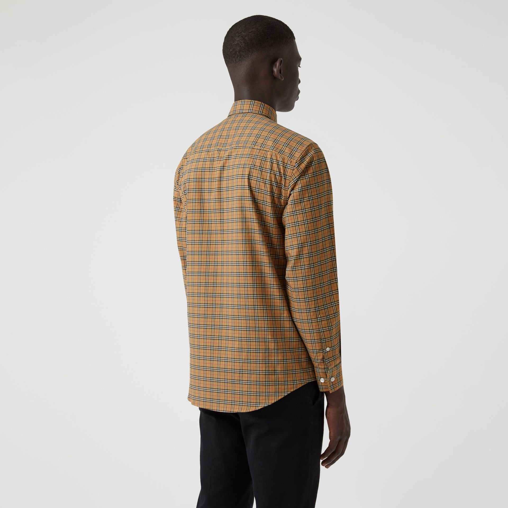 Small Scale Check Cotton Shirt in Antique Yellow - Men | Burberry Canada - gallery image 2
