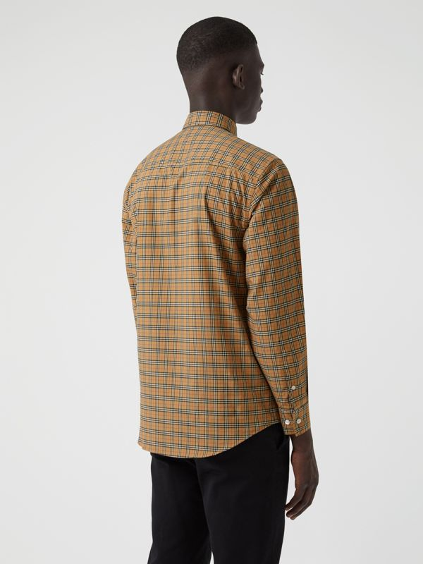 Small Scale Check Cotton Shirt in Antique Yellow - Men | Burberry Canada - cell image 2