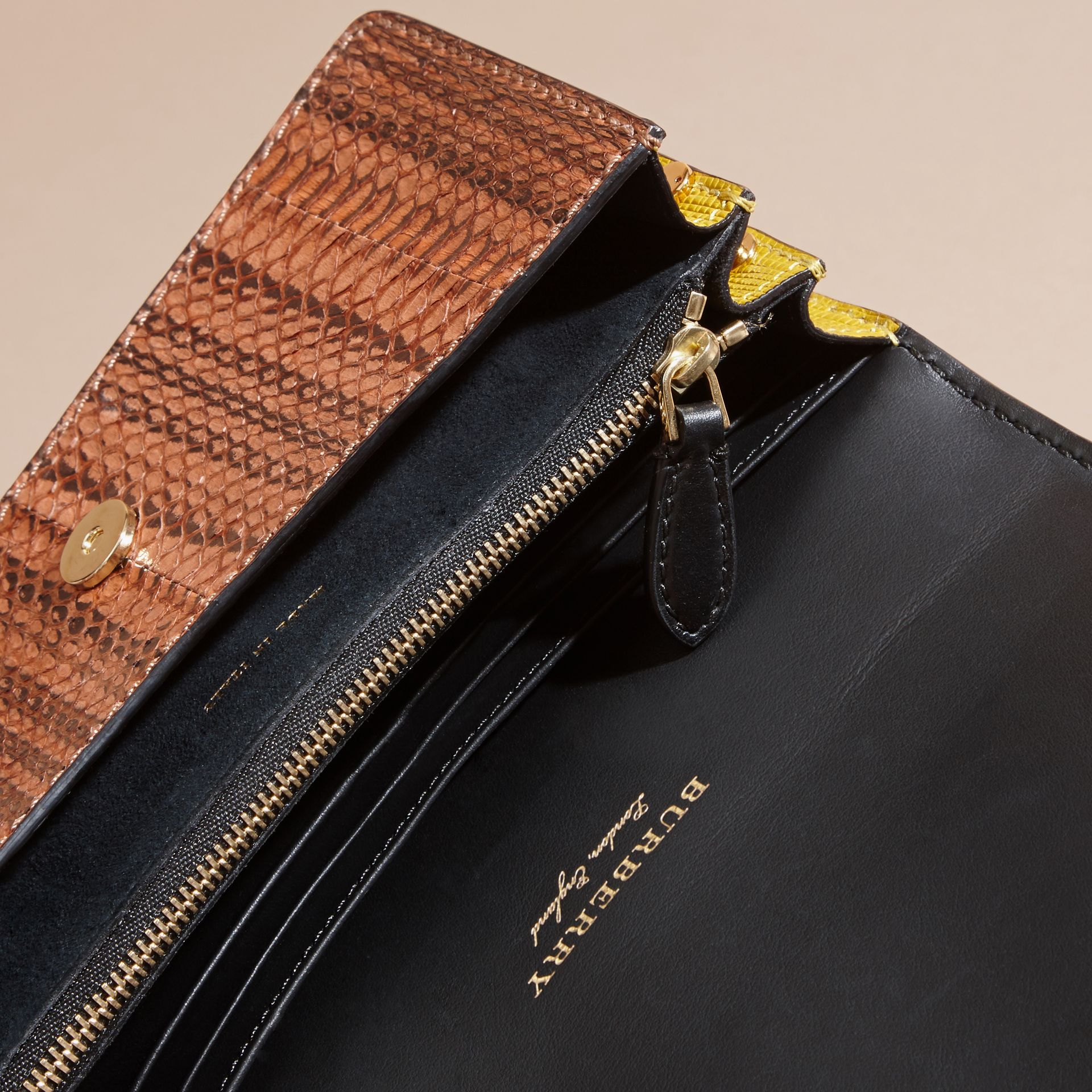 The Small Buckle Bag in Scallop Trim Snakeskin and Ostrich - gallery image 6