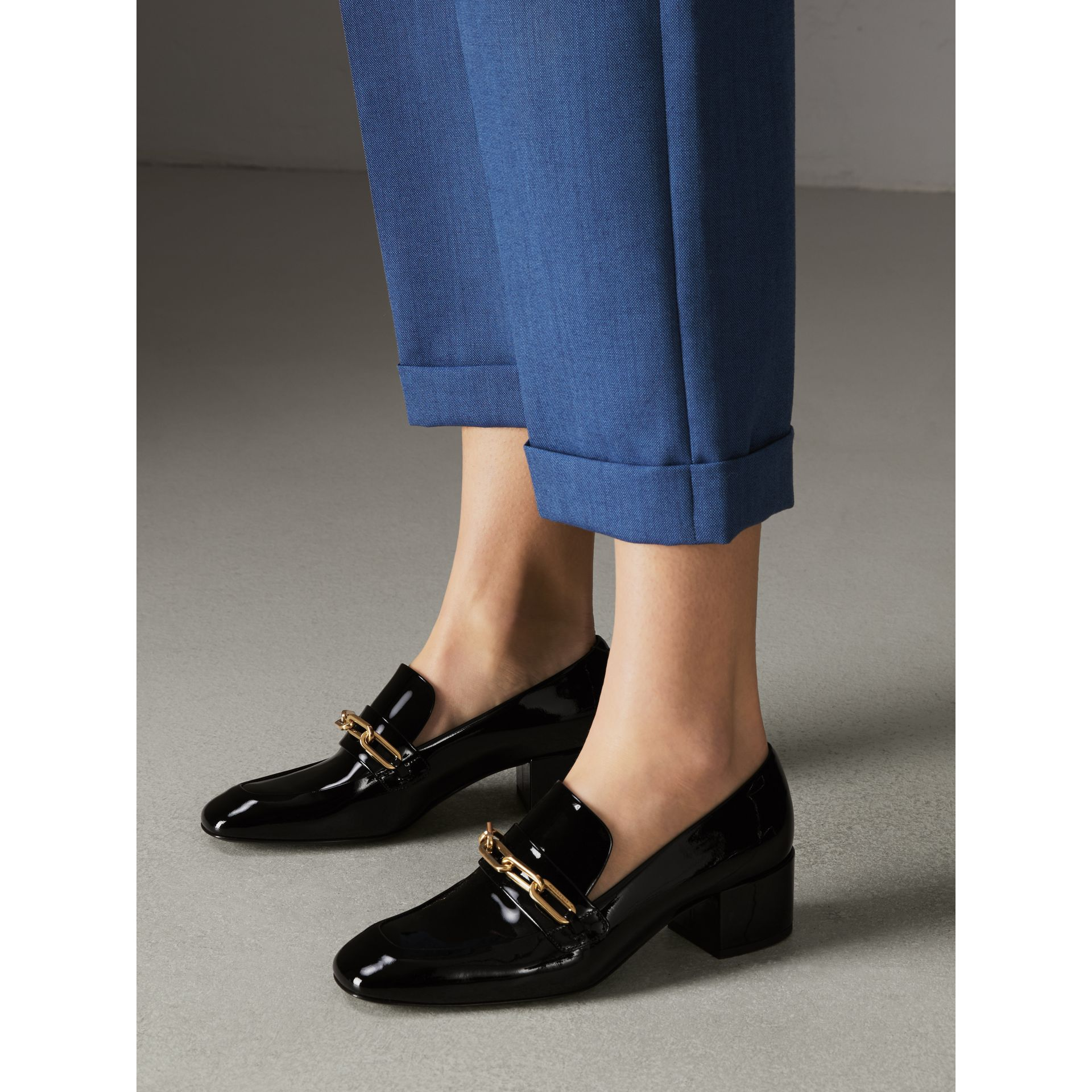 Link Detail Patent Leather Block-heel Loafers in Black - Women | Burberry United States - gallery image 2