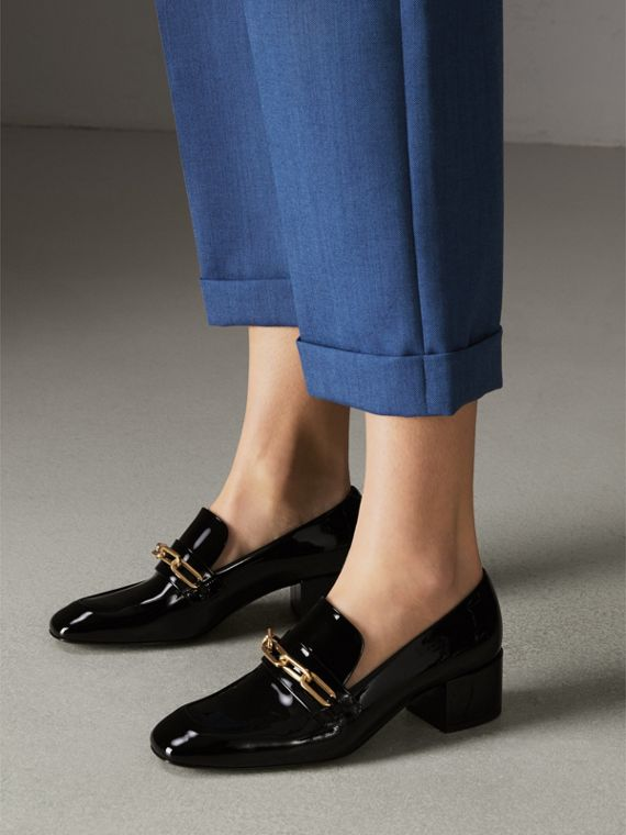 Link Detail Patent Leather Block-heel Loafers in Black - Women | Burberry Canada - cell image 2