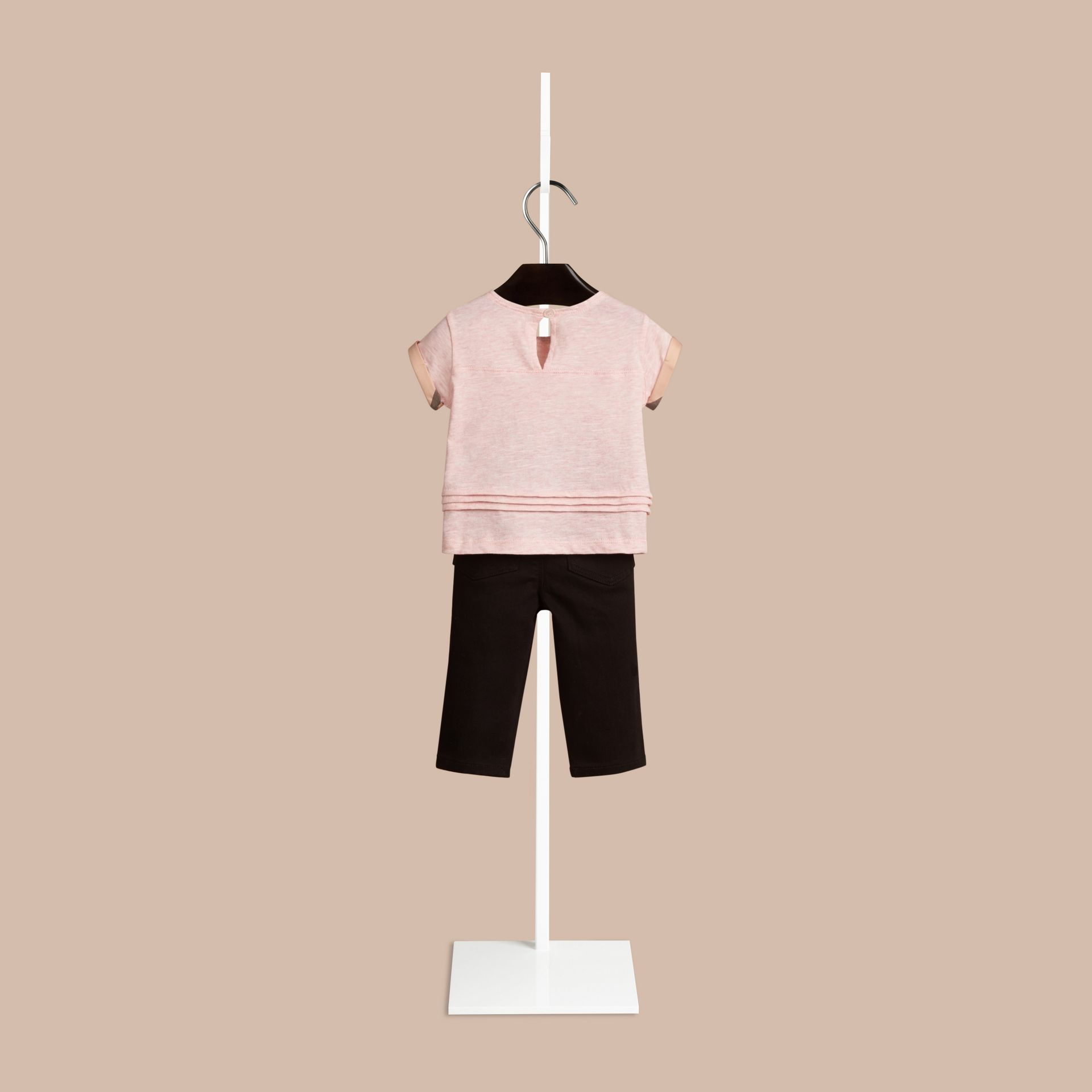 Chalk pink melange Pleat Detail Check Cotton T-shirt - gallery image 2