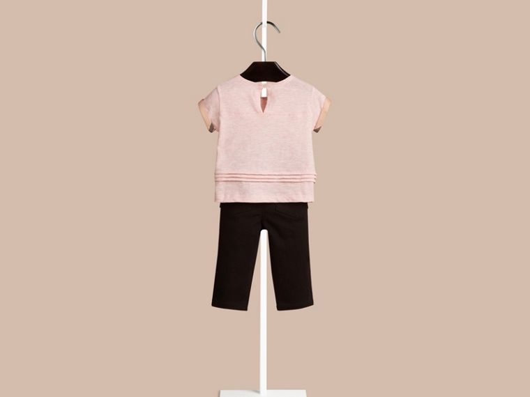 Chalk pink melange Pleat Detail Check Cotton T-shirt - cell image 1