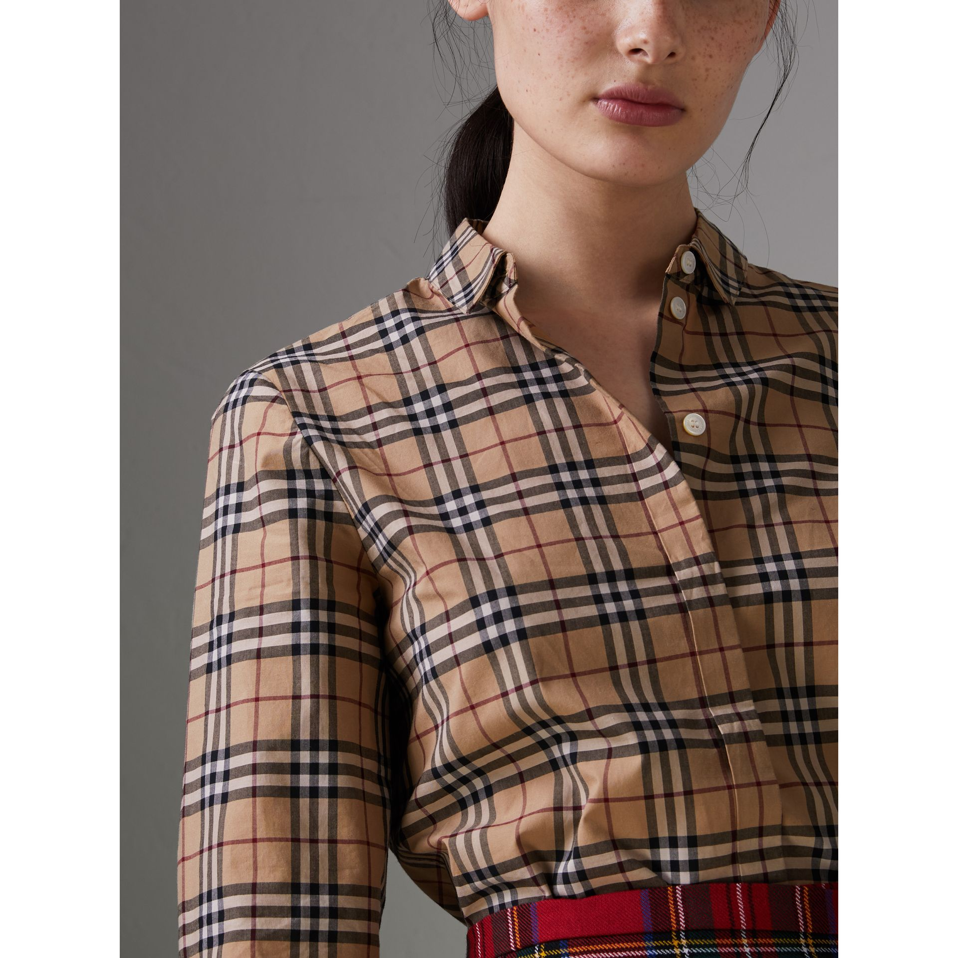 Check Cotton Shirt in Camel - Women | Burberry - gallery image 1