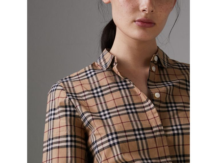 Check Cotton Shirt in Camel - Women | Burberry United Kingdom - cell image 1