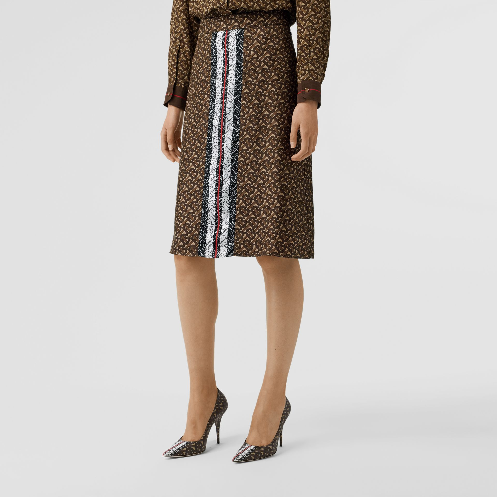 Monogram Stripe Print Silk Skirt in Bridle Brown - Women | Burberry - gallery image 4