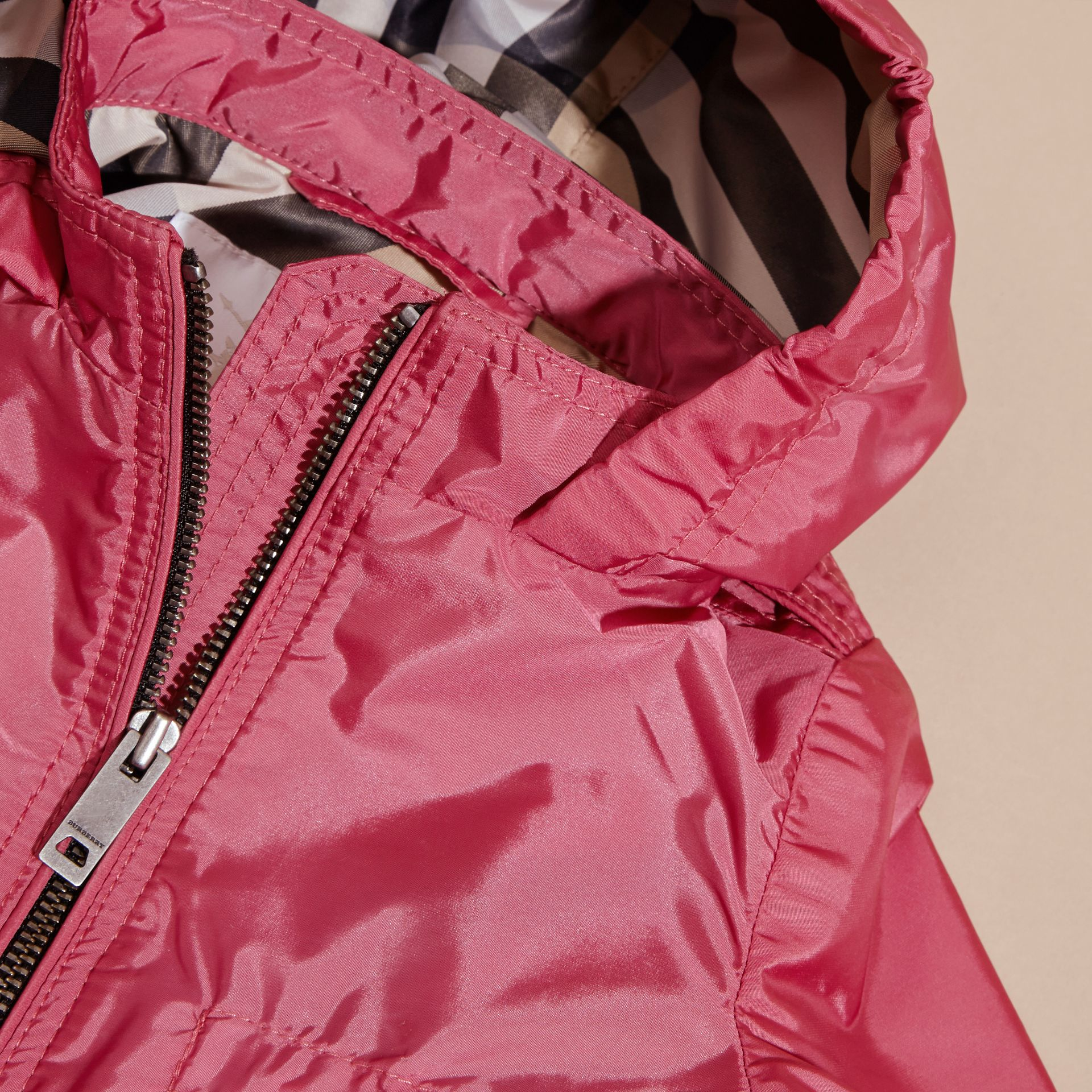 Hooded Packaway Technical Jacket in Pink Azalea - gallery image 2