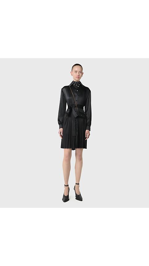 Pleated Silk Satin and Jersey Tie waist Shirt Dress in Black Women | Burberry Australia