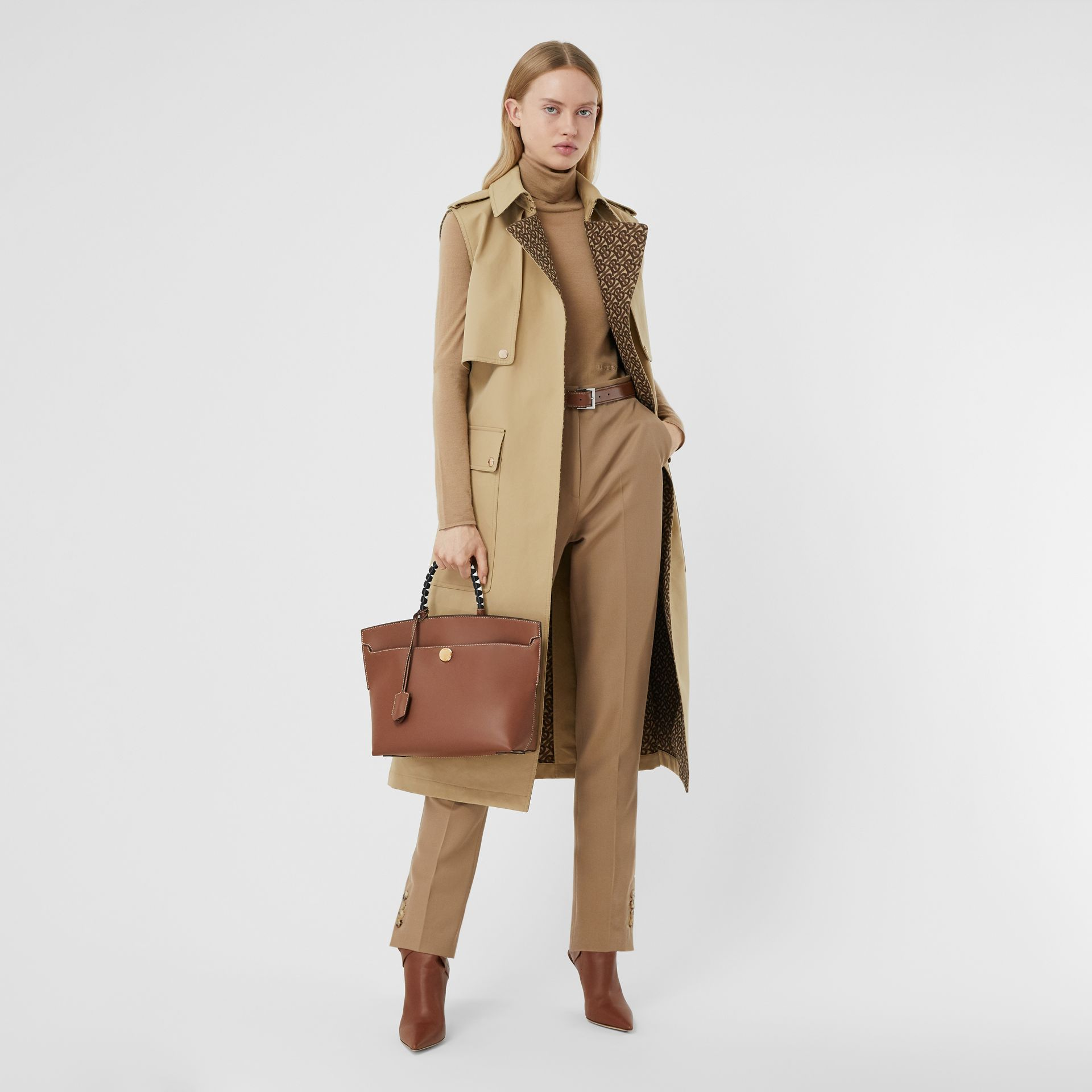 Small Leather Society Top Handle Bag in Tan - Women | Burberry - gallery image 5
