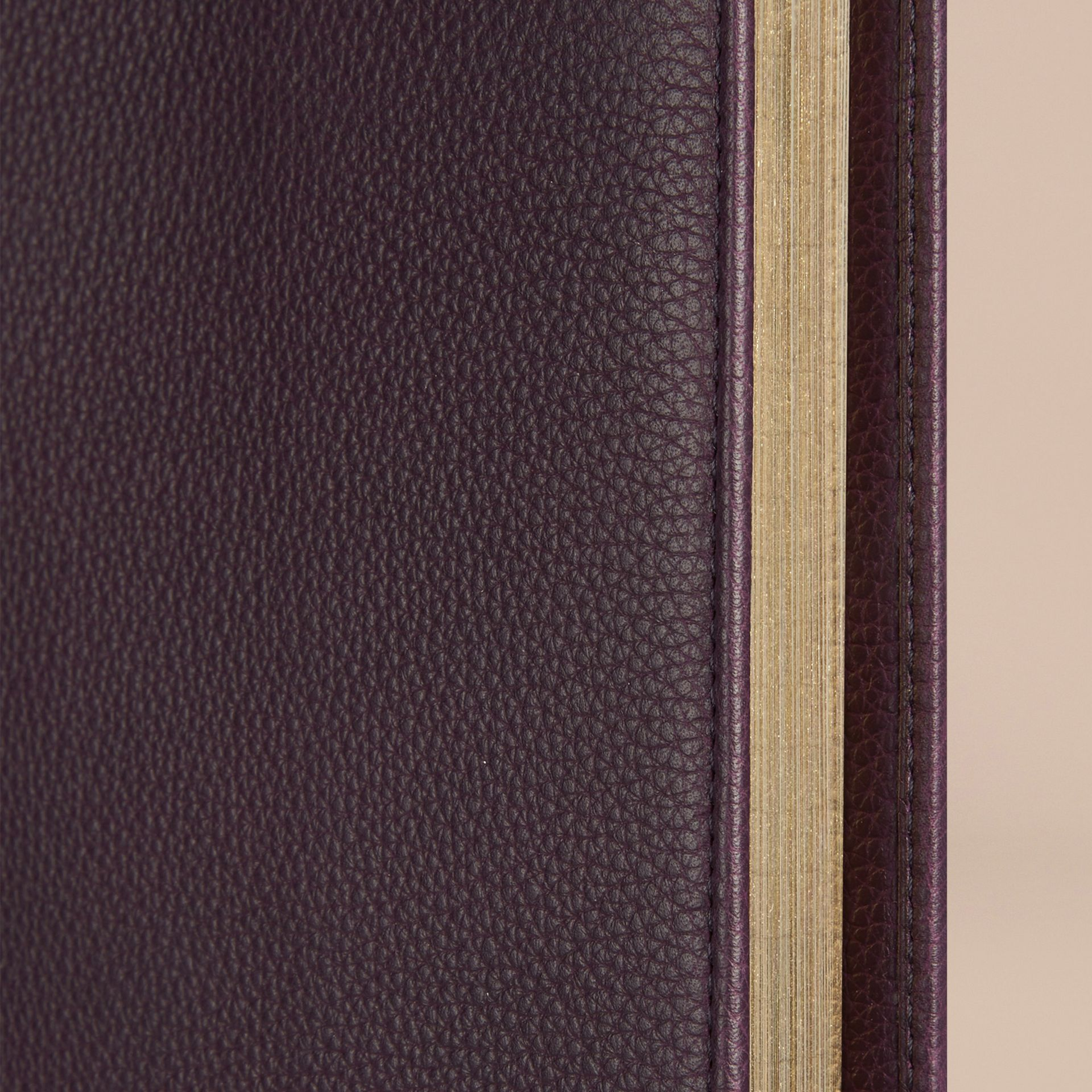 Grainy Leather A4 Notebook in Dark Amethyst - gallery image 2