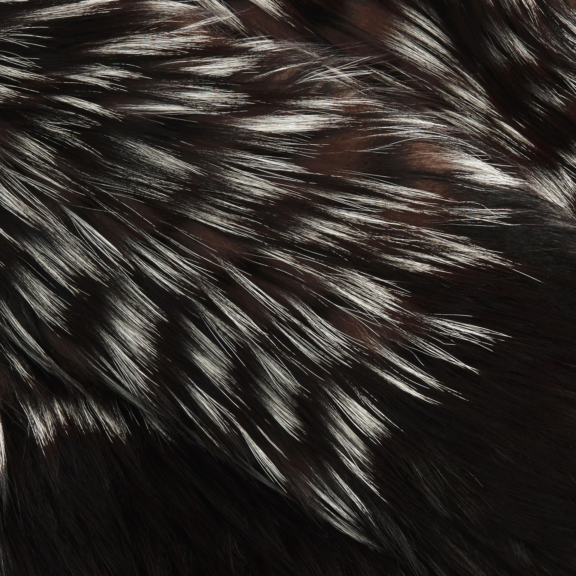Black/white Chevron Stripe Fox Fur Jacket - gallery image 2