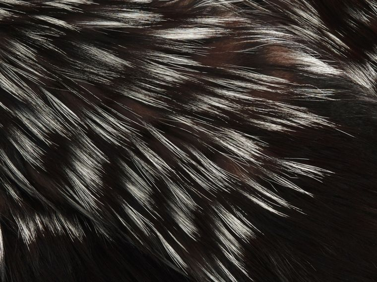 Black/white Chevron Stripe Fox Fur Jacket - cell image 1