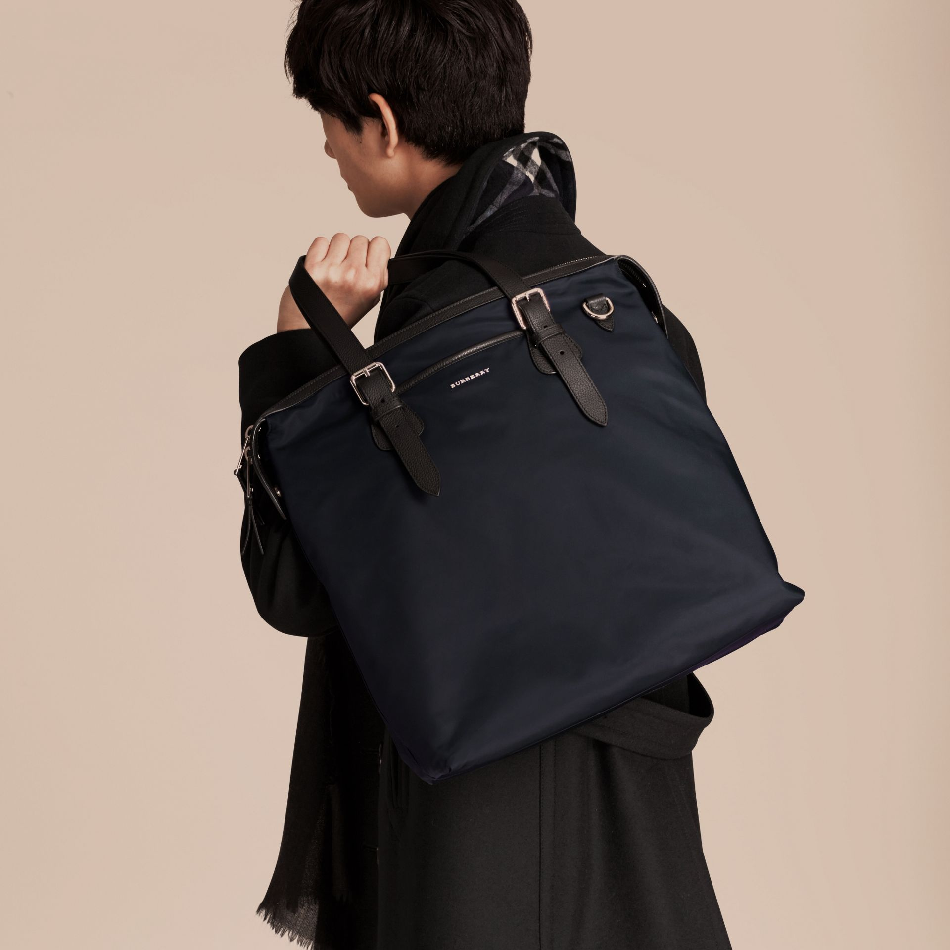 Dark navy Leather Trim Tote Bag Dark Navy - gallery image 3
