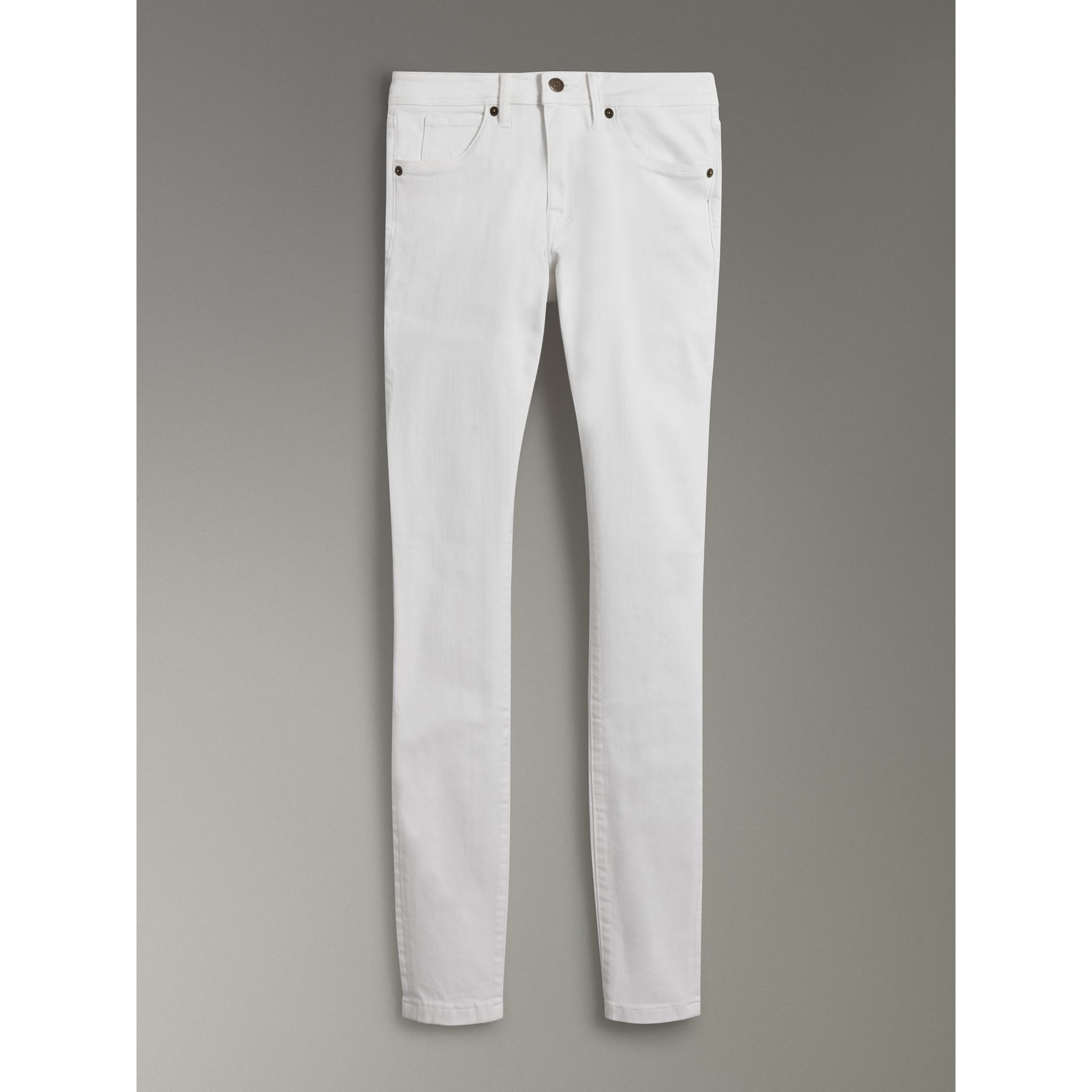 Skinny Fit Low-Rise White Jeans - Women | Burberry - gallery image 3