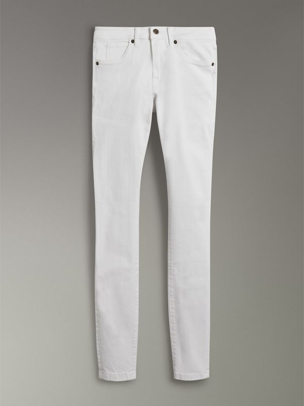 Skinny Fit Low-Rise White Jeans - Women | Burberry - cell image 3