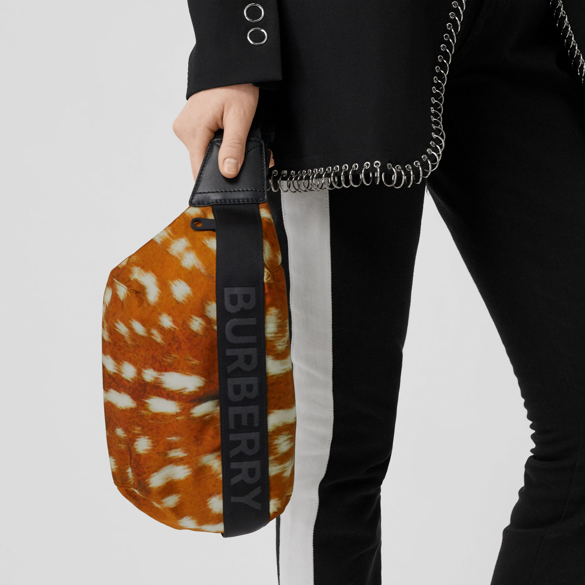 Medium Deer Print Nylon Bum Bag in Honey - Women | Burberry - gallery image 2