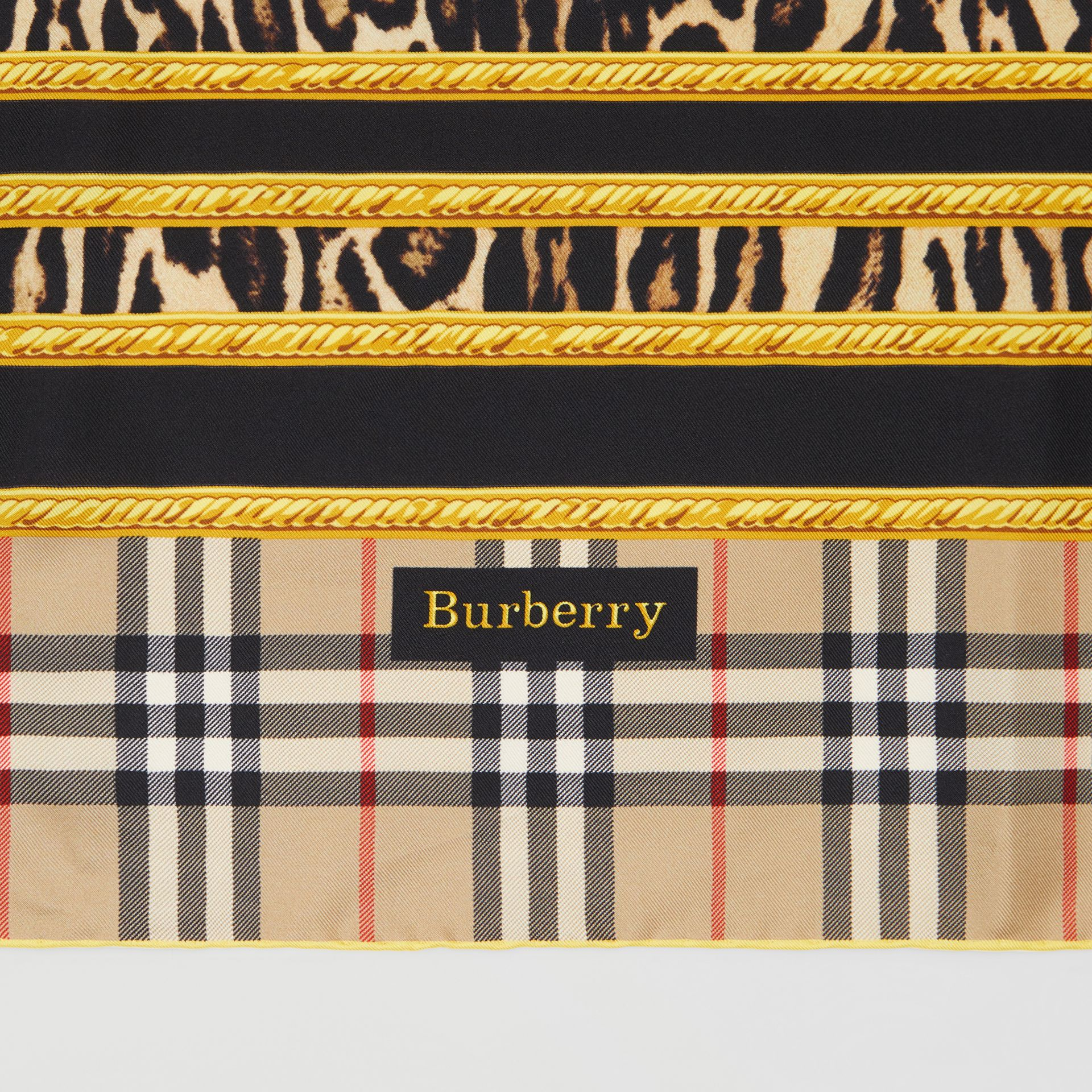 Archive Scarf Print Silk Square Scarf in Dark Mustard | Burberry United Kingdom - gallery image 1