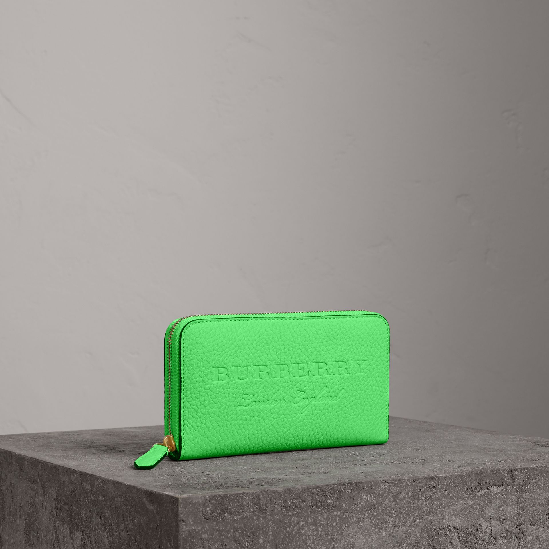 Embossed Leather Ziparound Wallet in Bright Green - Women | Burberry - gallery image 0