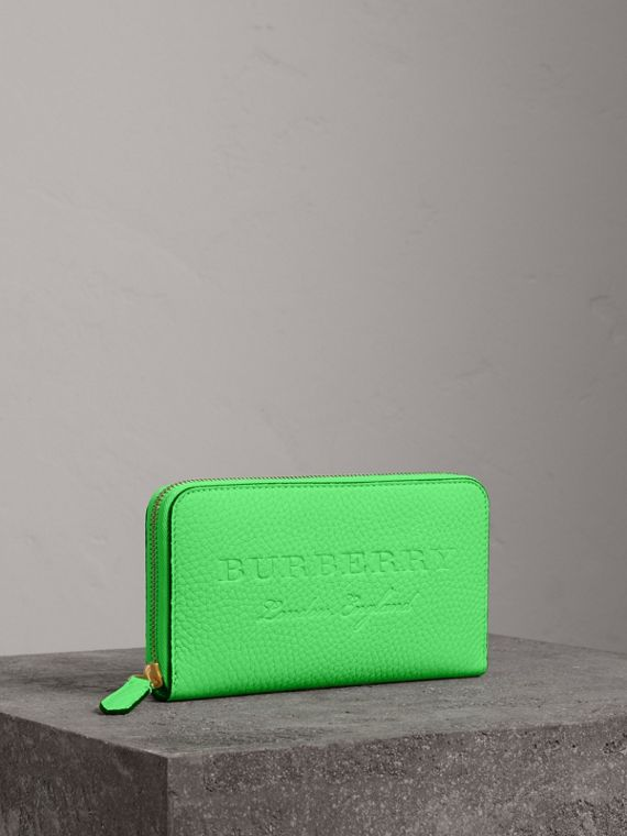Embossed Leather Ziparound Wallet in Bright Green