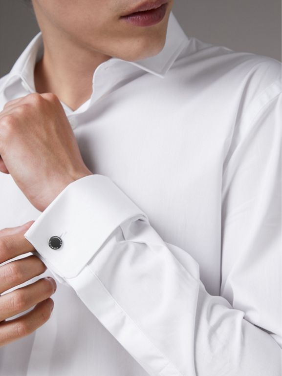 Slim Fit Double Cuff Cotton Poplin Shirt in White - Men | Burberry - cell image 1