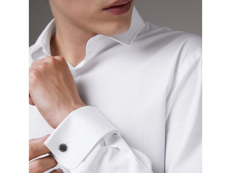 Slim Fit Double Cuff Cotton Poplin Shirt in White - Men | Burberry Hong Kong - cell image 1
