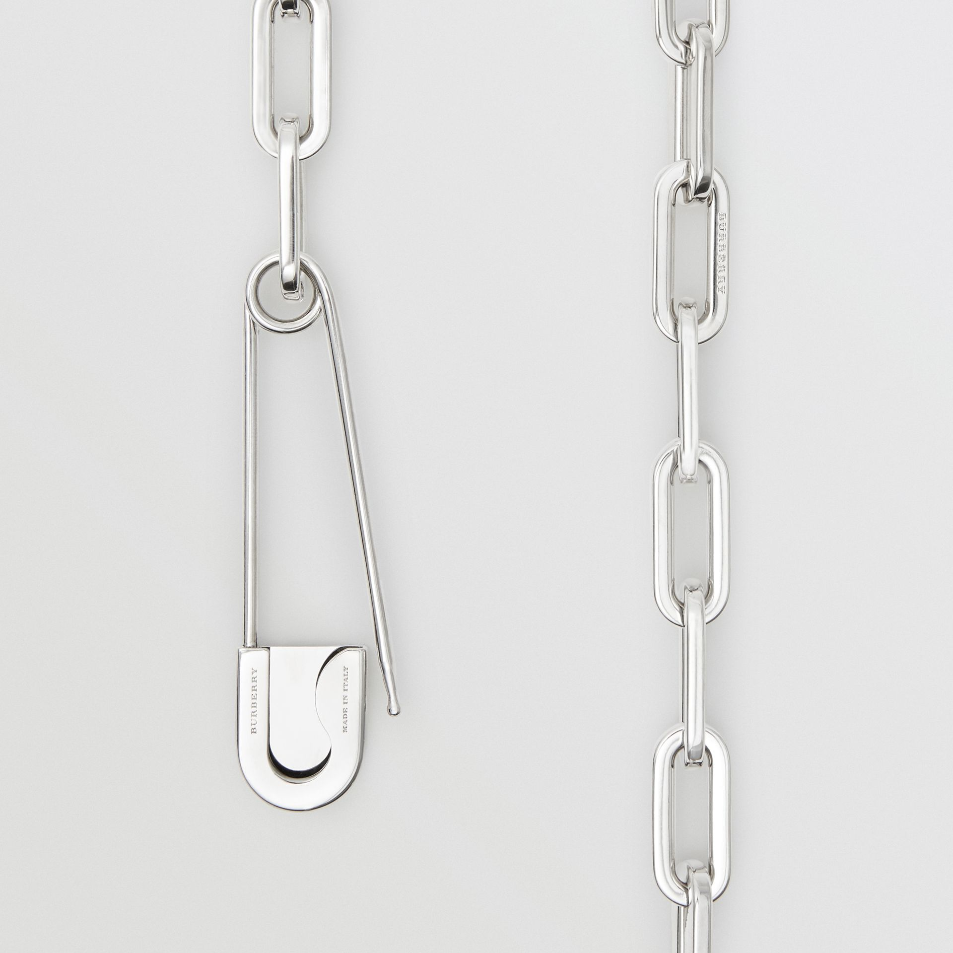 Kilt Pin Palladium-plated Long Link Drop Necklace in Palladio - Women | Burberry United Kingdom - gallery image 1
