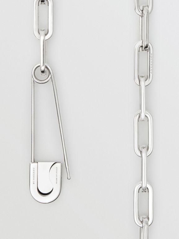 Kilt Pin Palladium-plated Long Link Drop Necklace in Palladio - Women | Burberry - cell image 1