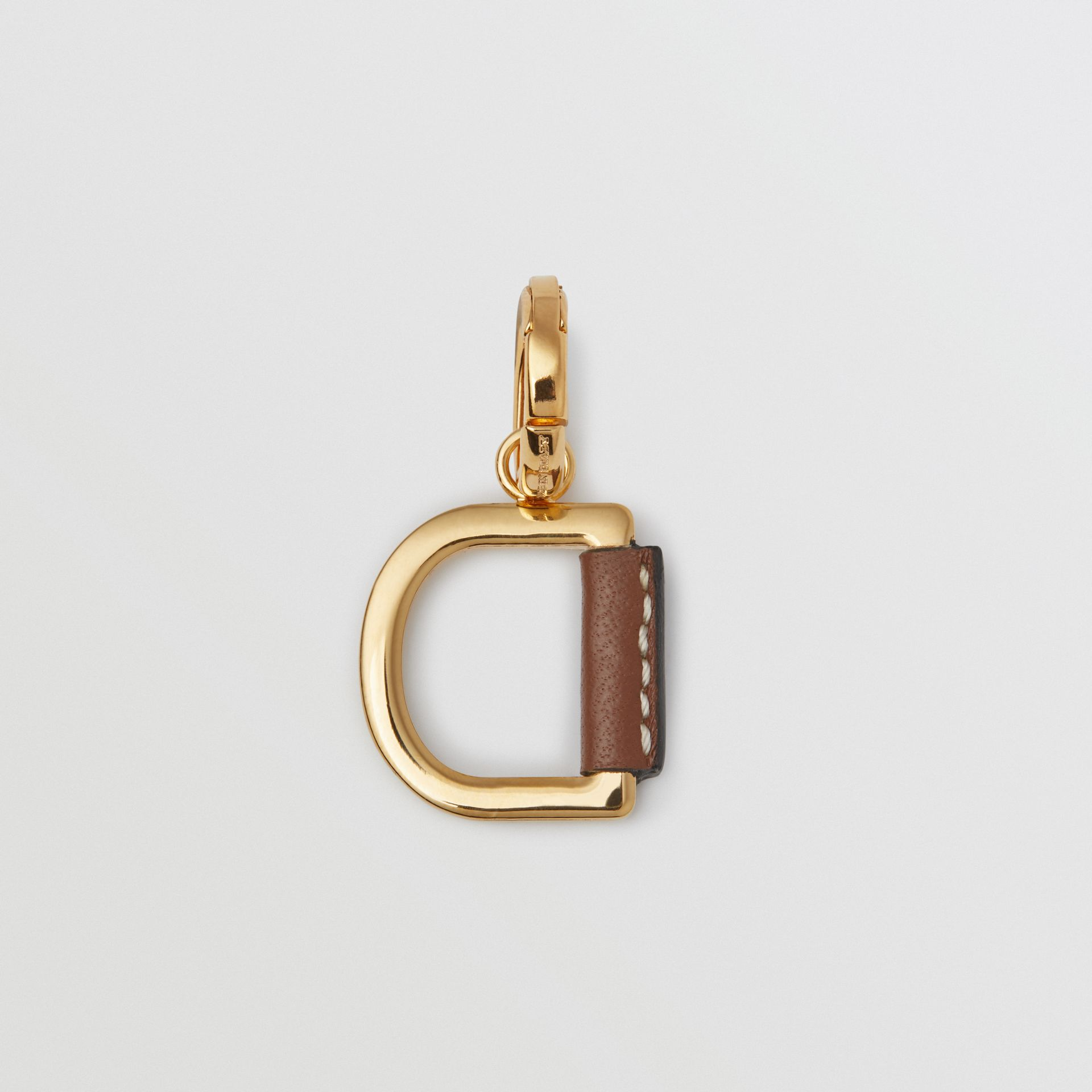 Leather-wrapped 'D' Alphabet Charm in Light Gold/tan - Women | Burberry - gallery image 3