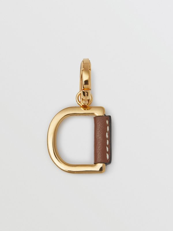 Leather-wrapped 'D' Alphabet Charm in Light Gold/tan - Women | Burberry Australia - cell image 3