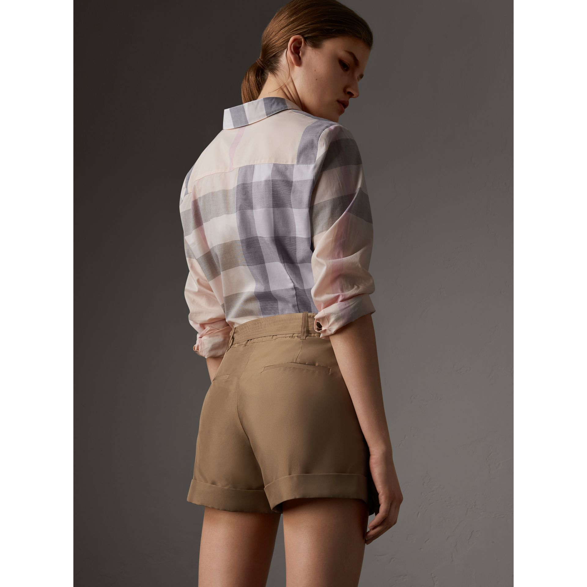 Check Cotton Shirt in Apricot - Women | Burberry United Kingdom - gallery image 3