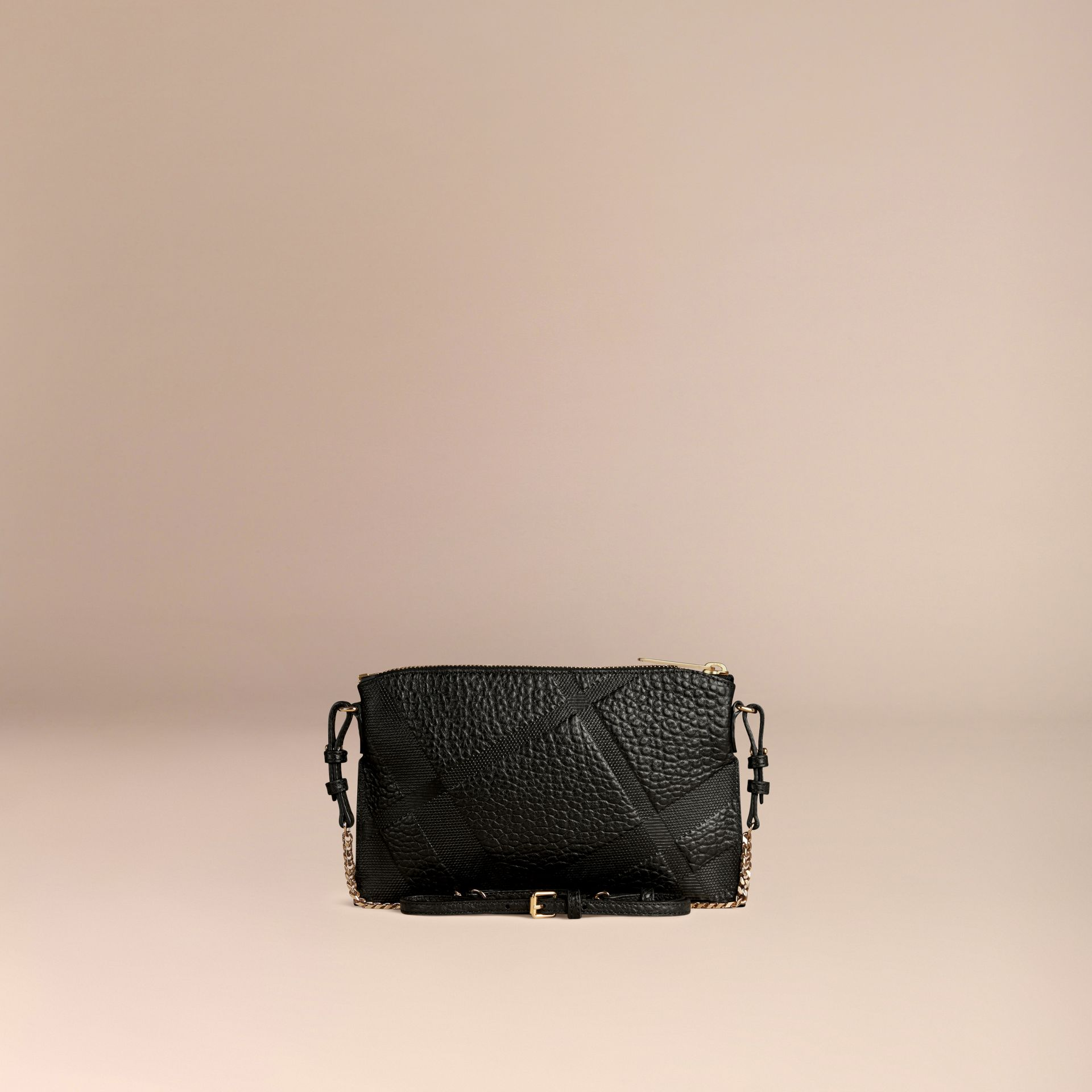 Black Check-embossed Leather Clutch Bag Black - gallery image 4