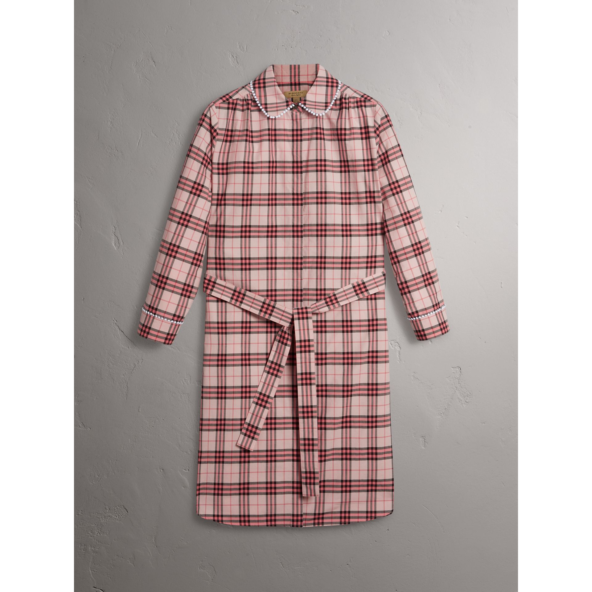 Lace Trim Collar Check Cotton Shirt Dress in Pink Azalea - Women | Burberry - gallery image 3