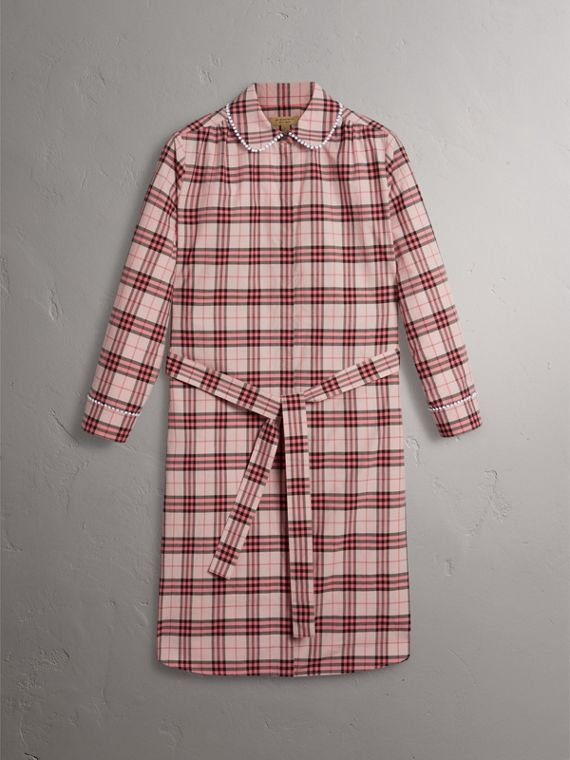 Lace Trim Collar Check Cotton Shirt Dress in Pink Azalea - Women | Burberry - cell image 3