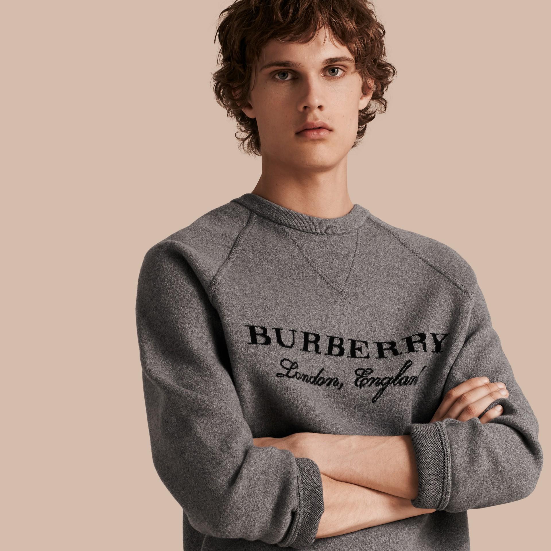 Mid grey melange/black Wool Blend Sculpted Sweatshirt Mid Grey Melange/black - gallery image 1