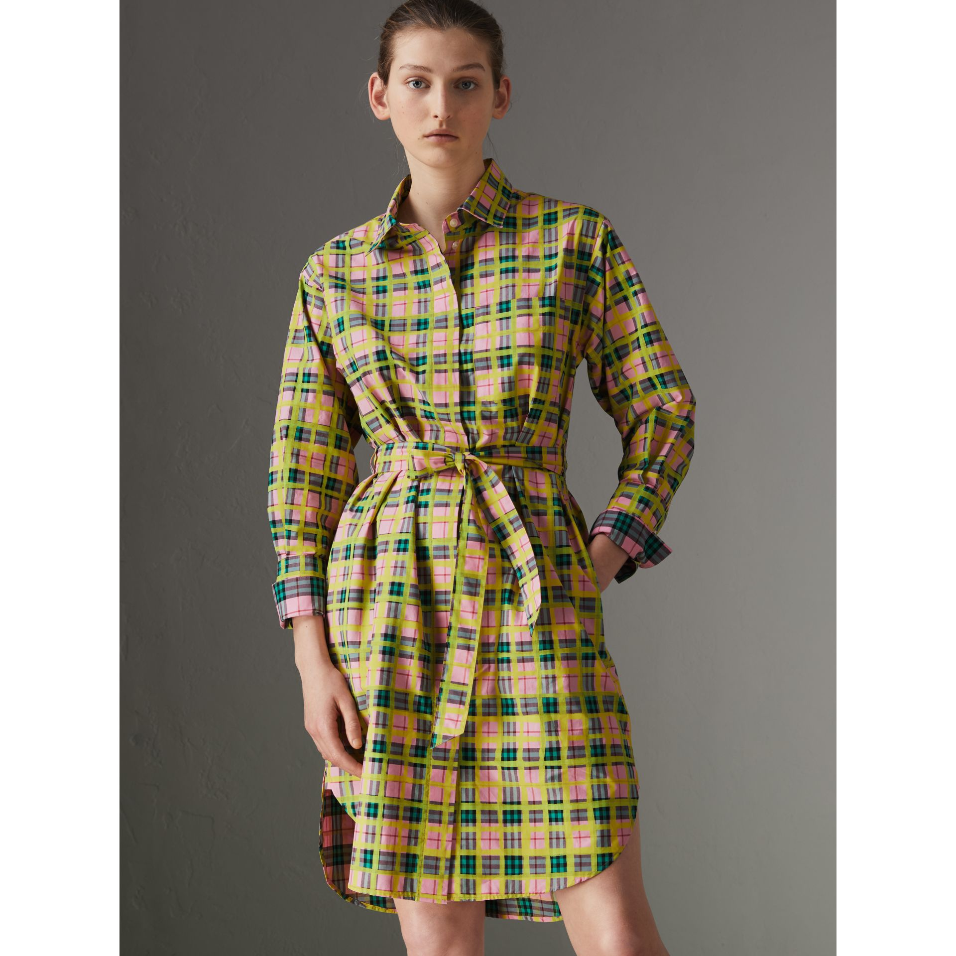 Painted Check Cotton Tie-waist Shirt Dress in Bright Coral Pink - Women | Burberry - gallery image 4