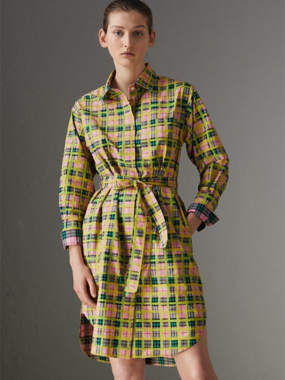 Painted Check Cotton Tie-waist Shirt Dress in Bright Coral Pink