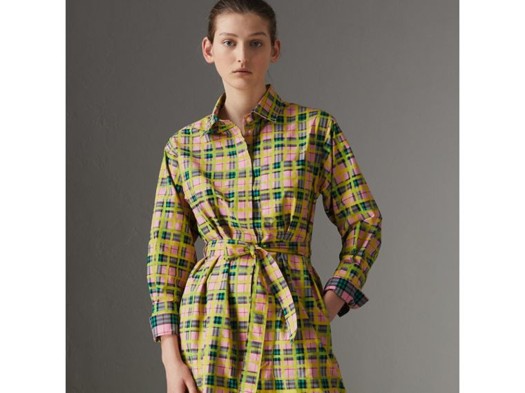 Painted Check Cotton Tie-waist Shirt Dress in Bright Coral Pink - Women | Burberry - cell image 4