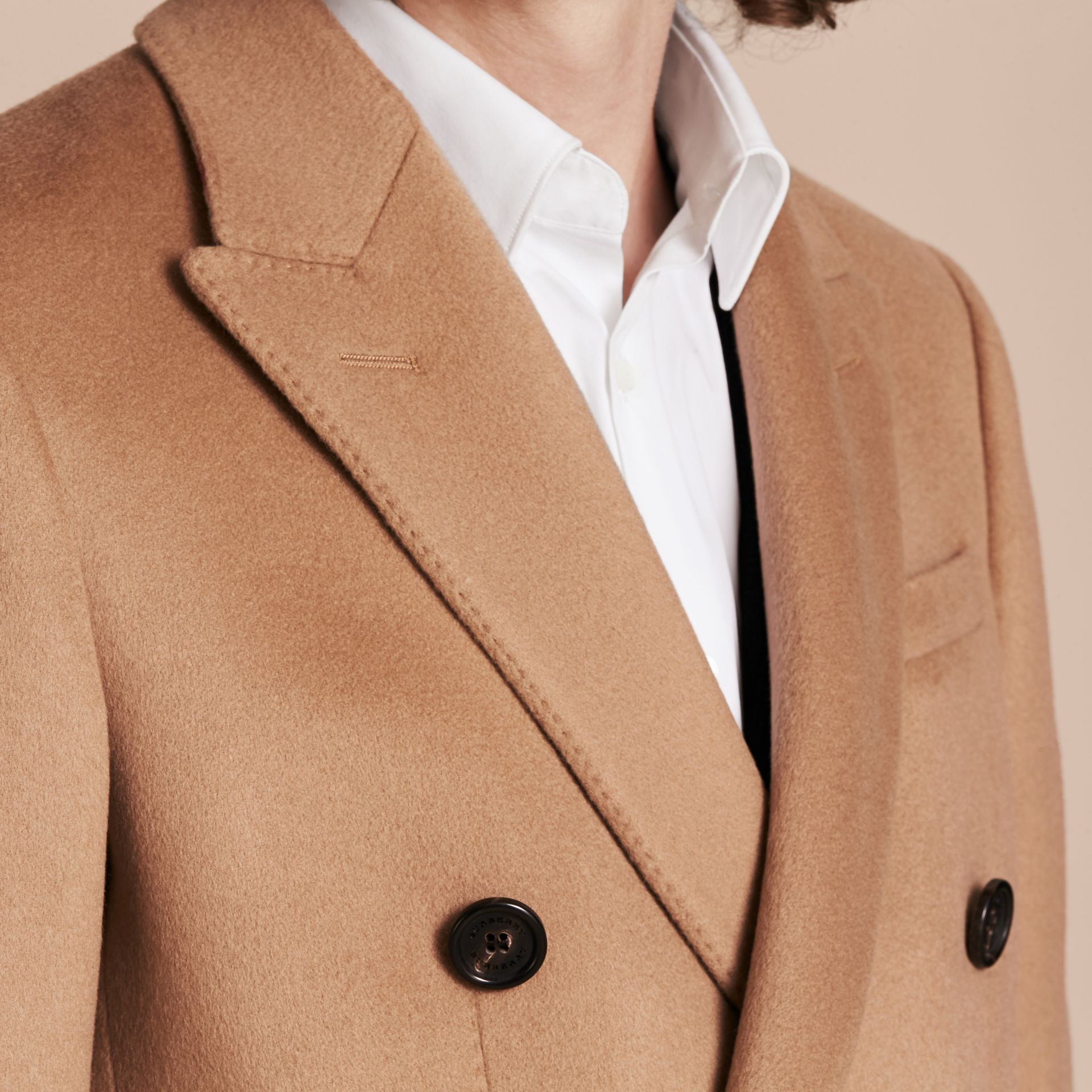 Camel Double-breasted Tailored Wool Cashmere Coat - gallery image 5