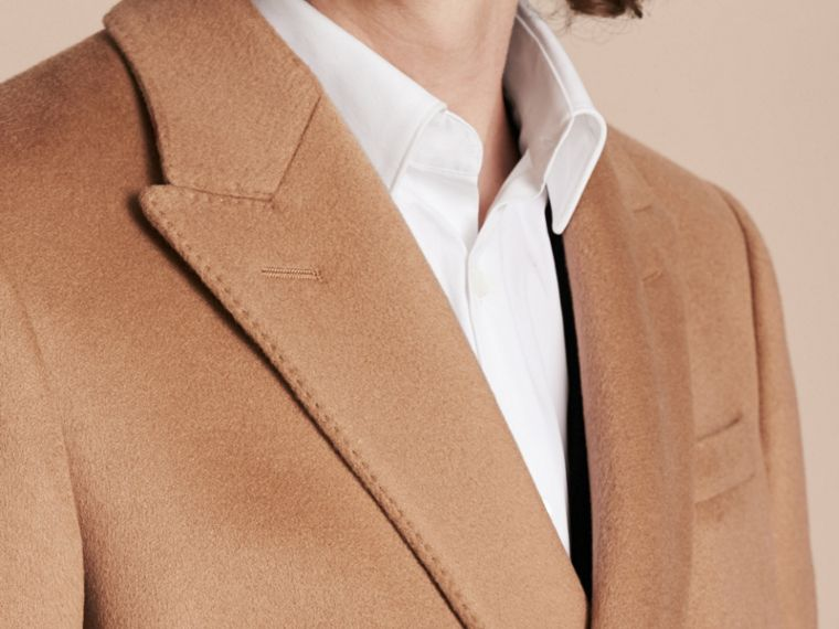 Camel Double-breasted Tailored Wool Cashmere Coat - cell image 4