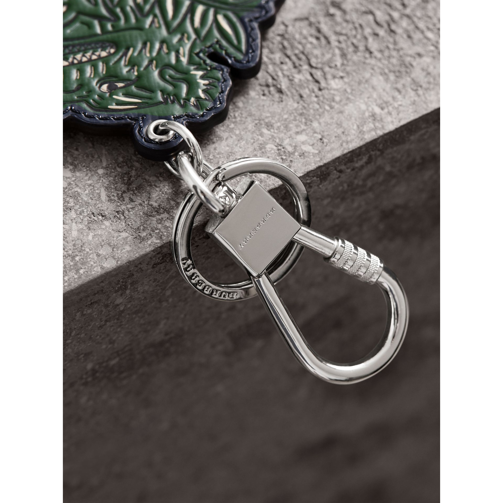 Beasts Leather Key Ring in Olive Green | Burberry - gallery image 2