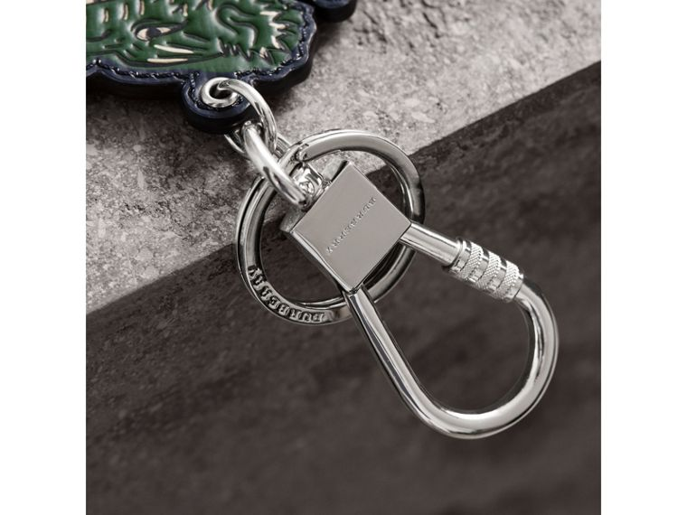 Beasts Leather Key Ring in Olive Green | Burberry - cell image 1