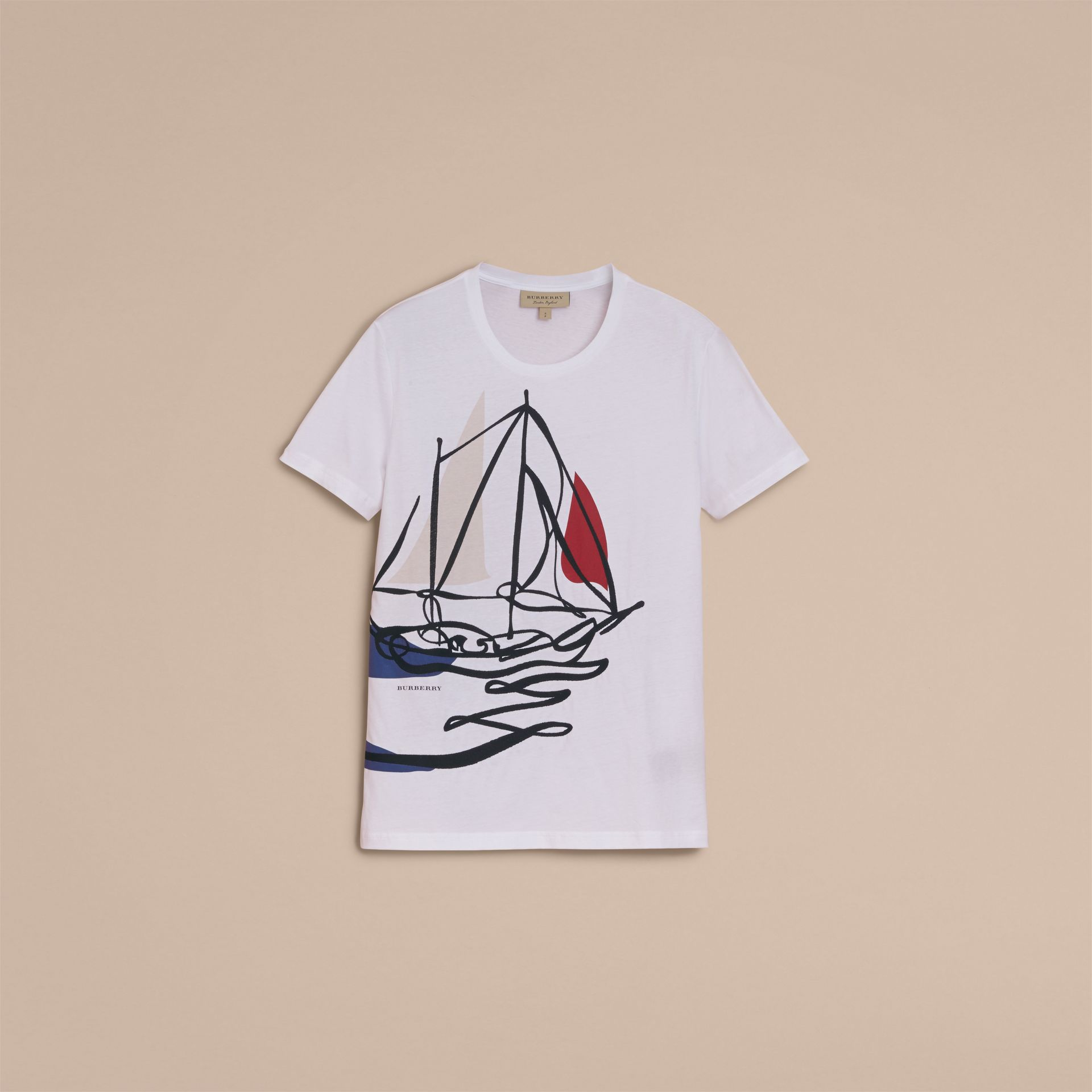Sailboat Motif Cotton T-shirt - gallery image 4