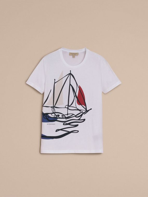 Sailboat Motif Cotton T-shirt - cell image 3