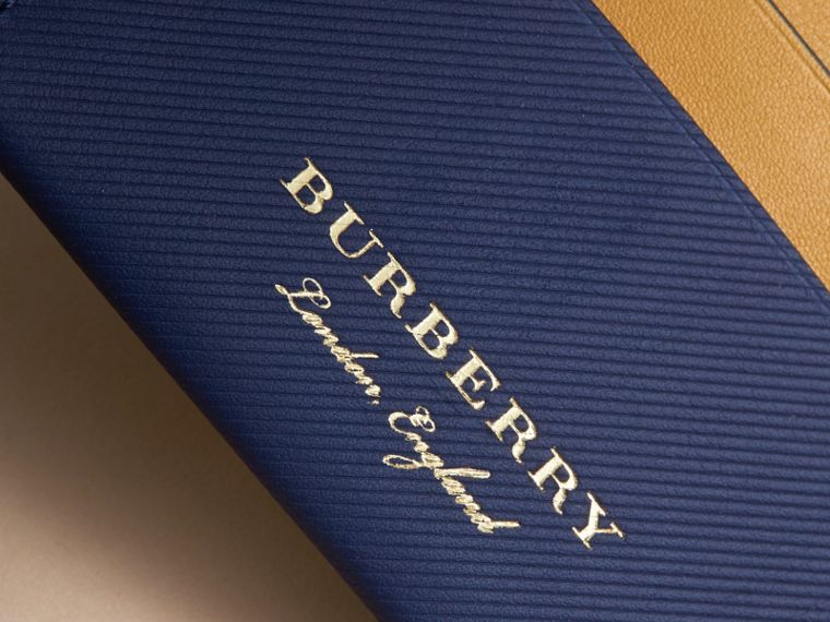 Two-tone Trench Leather Card Case in Ink Blue/ochre Yellow - Women | Burberry - cell image 1