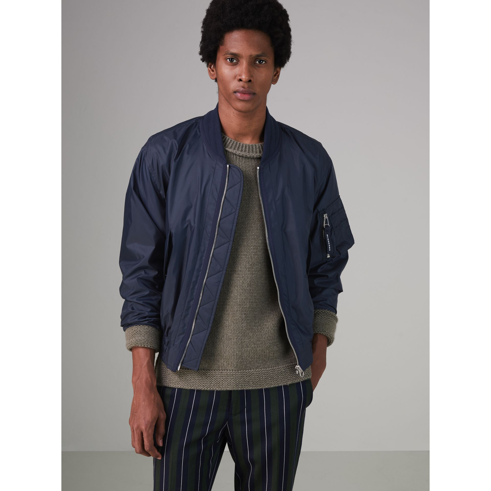 Lightweight Showerproof Bomber Jacket in Navy - Men | Burberry - gallery image 5