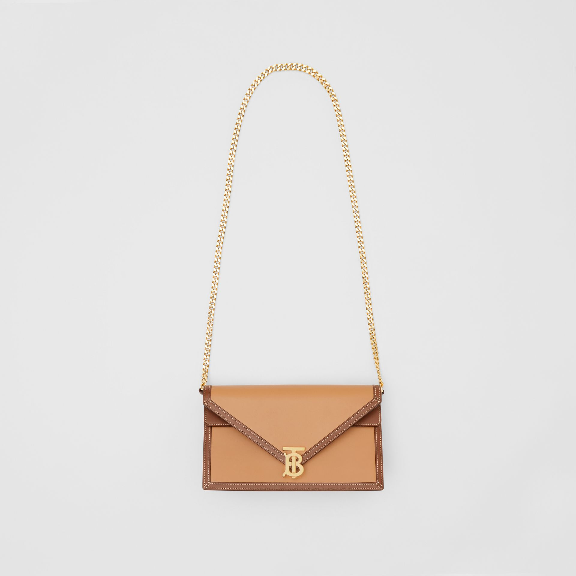 Small Two-tone Leather TB Envelope Clutch in Malt Brown - Women | Burberry - gallery image 3