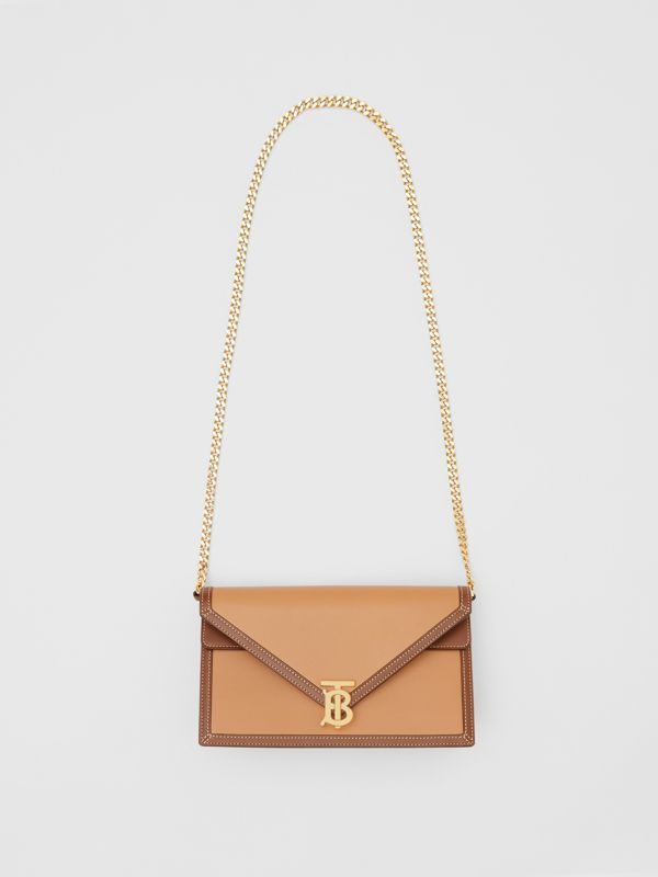Small Two-tone Leather TB Envelope Clutch in Malt Brown - Women | Burberry - cell image 3